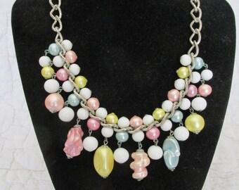 Vintage Necklace Chunky Pastel Beads SALE