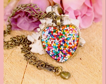 Candy  Sprinkle Heart Necklace Filled Resin 16mm Vintage Bronze Necklace Handmade By: Tranquilityy