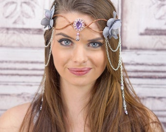 Elven Crown, Gray and Lavender, Silver and Purple, Floral Headpiece, Fairy Crown, Woodland, Costume, Cosplay