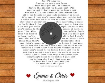 First Dance Song Lyrics, Song Lyrics, Special Memories, Home Decor, PRINT ONLY, Word Perfect Gifts