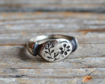 Nature Inspired Sterling Silver Ring, Purslane, Jewelry, Stacking Ring, Flower Ring, Birthday Gift for-girlfriend, Wife Gift Peg and Awl