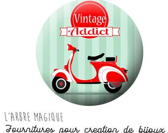 Cabochon fancy 25 mm vintage addict ref 661 Italian vespa scooter