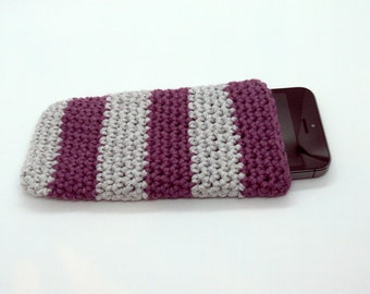 Phone case crocheted by hands grey and dark pink