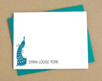 Peacock Personalized Stationery Set / Stationary Set with Modern Peacock Design