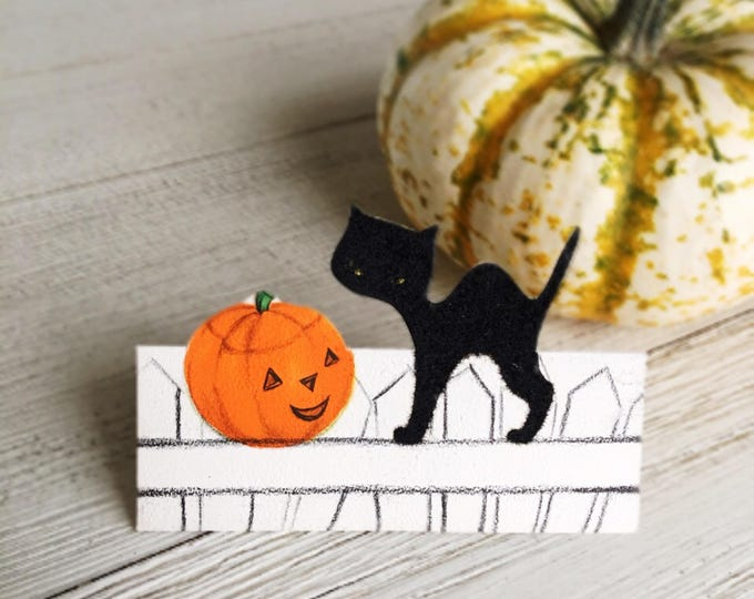Halloween Black Cat Place Cards Vintage Hallmark Unused Party Supply