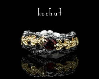 "Silver garnet ring, garnet ring, red garnet ring. Garnet silver ring ""The power of life"" from Kochut collection."