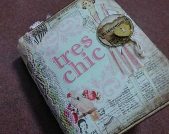 Mini Tres Chic Junk Journal - Shabby Chic Junk Journal - Pink Shabby Journal - Mini Junk Journal