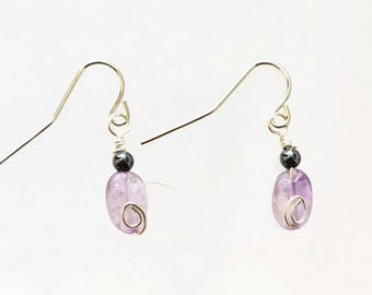 Amethyst and Hematite Dangle Earrings