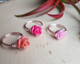 Pink Rose Ring, Pink Flower Ring, Cute Rose Jewelry, Rose Ring, Pink Rose Jewelry, Gilrs Ring, Bridesmaid Gift, Bridal Party Jewelry