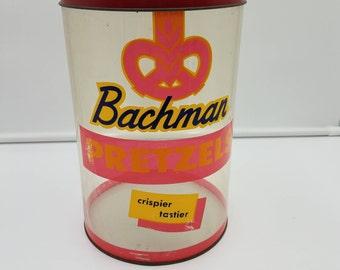 "Bachman Pretzel Tin 10"" x 6"" diameter Advertising General Store Grocery"