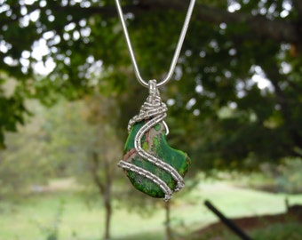 Green Jasper Wire Wrapped Necklace