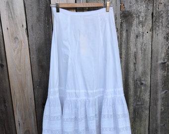 White Cotton Victorian Skirt