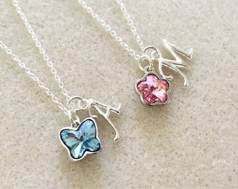 Swarovski crystal butterfly necklace or Swarovski flower necklace gift flower girl gift flower girl necklace jewelry personalized gift