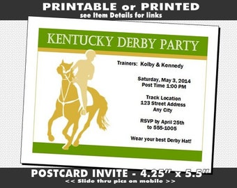 Kentucky Derby Party Invitation, Printable with Printed Option, Horse Racing Party, Equestrian Theme