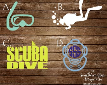 Scuba Diving, Scuba Car Decals, Scuba Yeti Decals, Scuba, Custom Decal, For him, Scuba Diver, Scuba diver gift, macbook decal, gift for her
