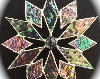 stained glass snowflake suncatcher (design 4)