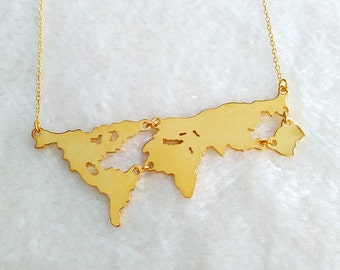 World map necklace etsy gold world map necklacepersonalized earth jewelrymother earth necklaceearth day gift gumiabroncs Gallery