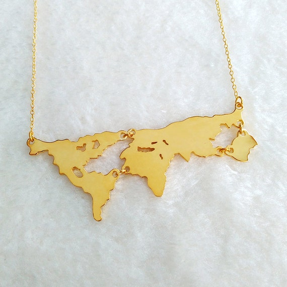 Gold world map necklacepersonalized earth jewelrymother like this item gumiabroncs Image collections