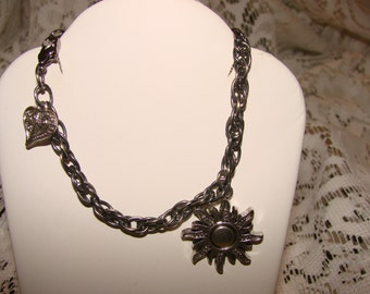 Eclipse Sun Pewter Charm Bracelet With Sun And Heart Pewter Charms