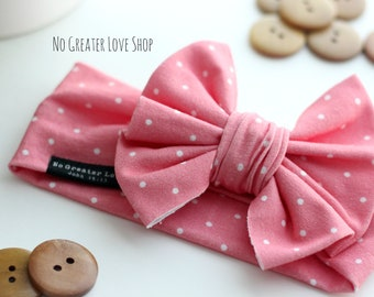 Darling Salmon Pink Pin Dot Headband - Big Bow Headband - Turban Headband - Top Knot - Baby Child Adult Sizes - Buy One Give One