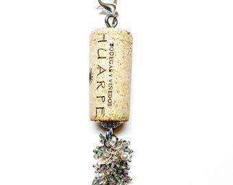 Rosè D'Aurora color-burst cork floating keychain with Swarovski crystals
