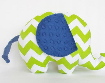 Lime Green and White Chevron with Navy Blue Minky Dot Stuffed Elephant Pillow