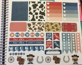 Cowgirl theme weekly planner sticker theme:stickers for planners, journals, scrapbooks and more!
