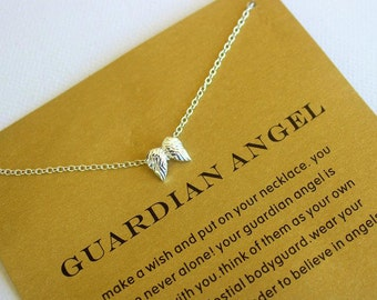 Guardian angel, angel wings, silver necklace, gift