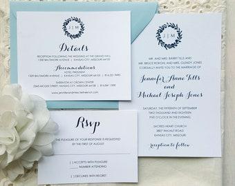Wedding Invitation Suite - Style 01 - Modern Wreath COLLECTION Wedding Invitations     Wedding Invites    Invitation Set