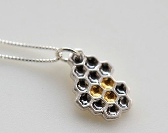 Silver honeycomb pendant with gold honey details and sterling silver box chain, made to order necklace
