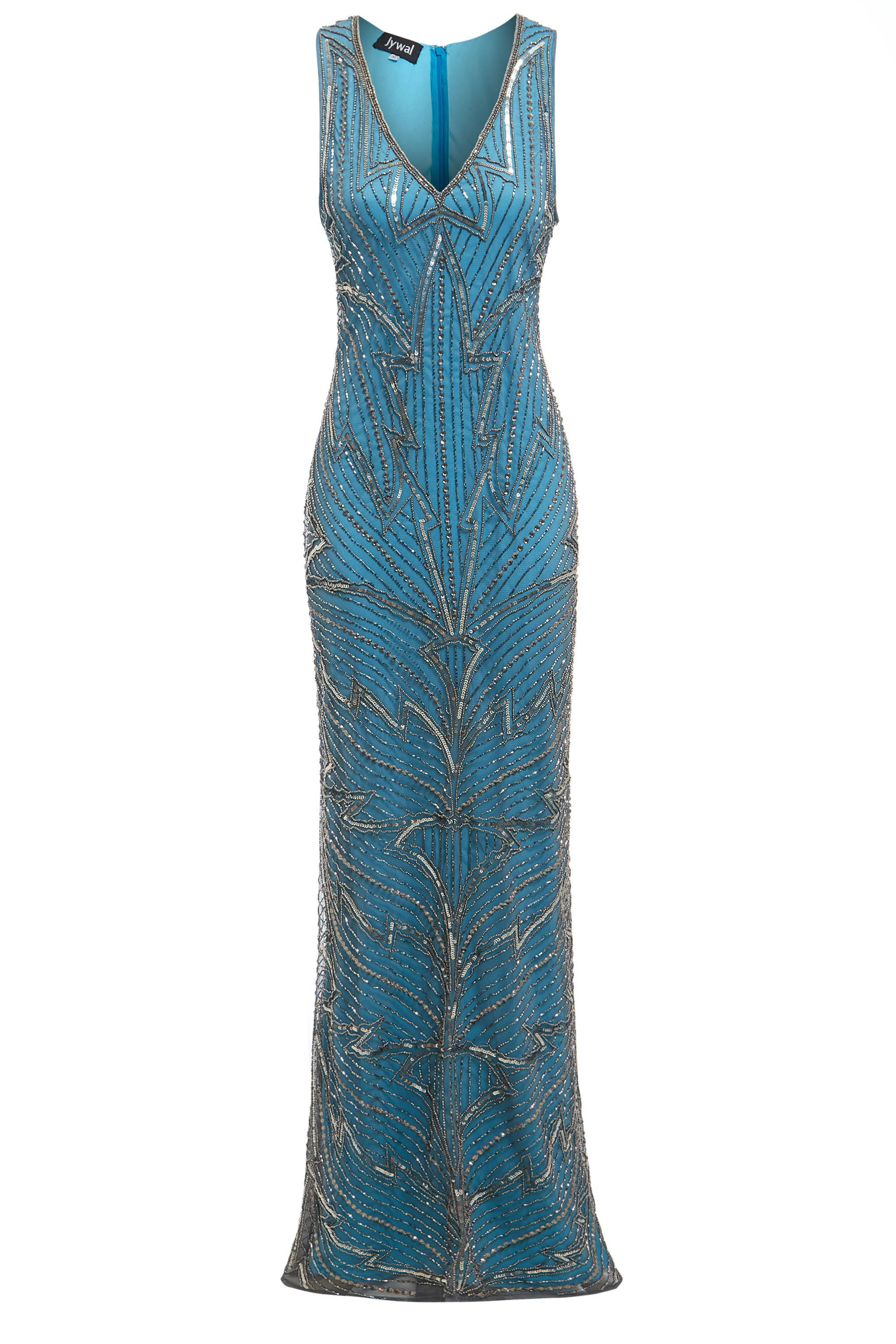 Monica Blue Embellished Flapper Dress 1920s Great Gatsby
