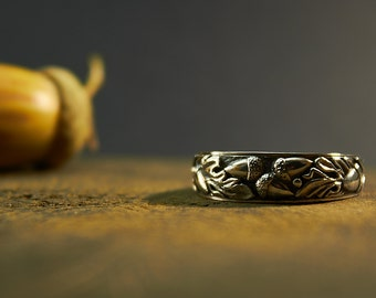 Oak Ring, Acorn Ring, Tree Silver Ring, Sterling Oaken Ring, Nature Inspired, Oak Leaf Patterned Band, Woodland Ring, Symbolic Ring, Leaf