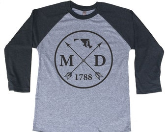 Homeland Tees Maryland Arrow Tri-Blend Raglan Baseball Shirt