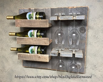 Wine Rack, Wine Glass, Wine Bottle Holder, Wooden Wine Rack, Wedding Gift Ideas, Wine Holder, Unique Wine Gifts, Wall Mount Wine Rack