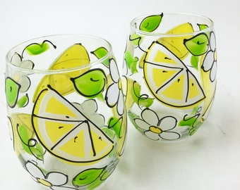 Lemon Slice Stemless Wine Glass - Hand Painted Lemon Slices and White Flower Wine Glass