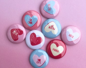 VALENTINE CONVERSATION HEARTS flair buttons pin badge crafting planner scrapbooking valentine's day set of 8