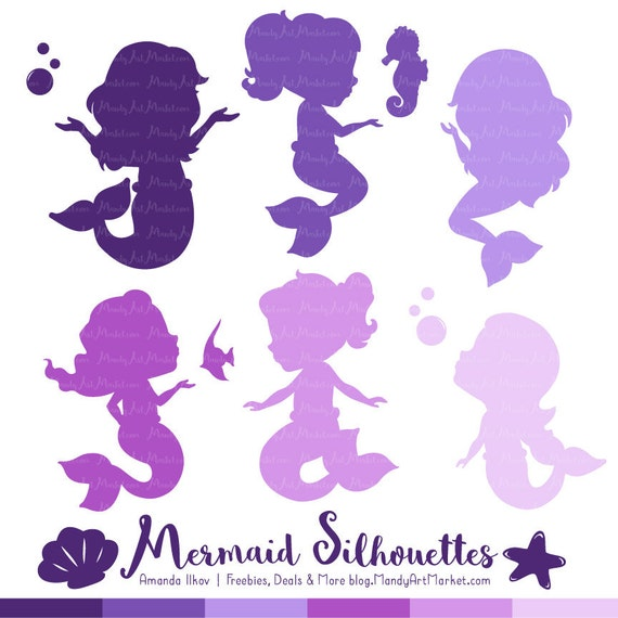 50 Shades Of Fabulous Svg: Professional Mermaid Silhouettes Clipart In Shades Of Purple