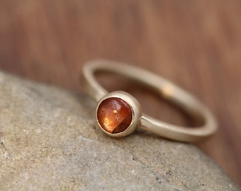 Sunstone Gold Stacking Ring - Sunstone Ring - Round Sunstone Ring - Gold Ring - Select Grade Sunstone Ring
