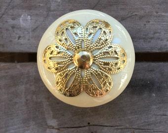 Large Knob Cream & Gold Ceramic Dresser Pull Metal Flower Filigree New / Unused 8 Available - #D2334