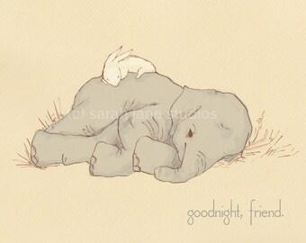 Children's Wall Art Print - Goodnight, Friend - Kids Nursery Room Decor