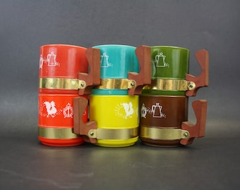 Vintage Siesta Ware Colorful Coffee Mugs with Wood Handles, Set of 6 (E8919)
