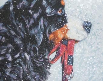 Bernese Mountain Dog art CANVAS print of LA Shepard painting 12x12 portrait