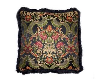 Vintage / Antique Art Nouveau Mucha Style Satin Jacquard Decorative Pillow or Throw Pillow with Fringe 22'' x 22''