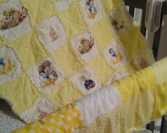 Snow White Fray Blanket, Snow White, Princess,Baby Bedding, Crib Set,Throw,baby Blanket, Baby Crib Bedding,baby rag quilt