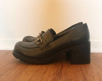 SHOP SALE Vintage 90s Black Buckle Leather Platform Oxford Shoes 10