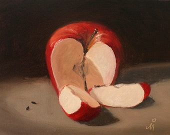 "An apple a day, 6"" x 8"", Original Oil Painting on Canvas"