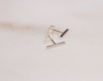 Small Sterling Silver Bar Stud Earrings