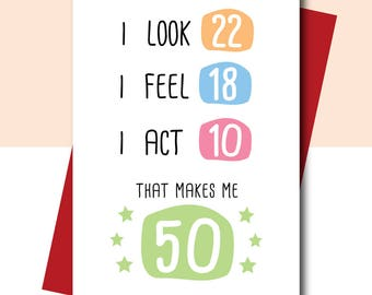 50th birthday card funny 50th birthday card customizable 50th birthday card funny birthday card 50th birthday gift 50th birthday friend card bookmarktalkfo Image collections