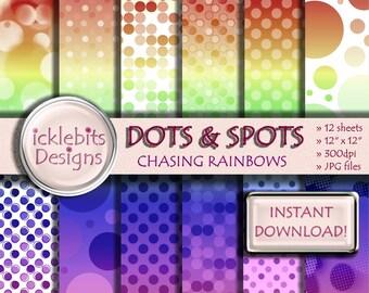 "Rainbow Gradient Dots and Spots Digital Scrapbooking Paper Pack ""CHASING RAINBOWS"", polka dot paper,12 sheets, polka dot paper, #Design50"
