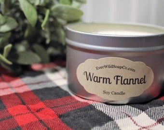 Warm Flannel Soy Candle 8 oz Tin, Container Candle, Soy Wax Candle, Scented Candle, Home Decor Candle